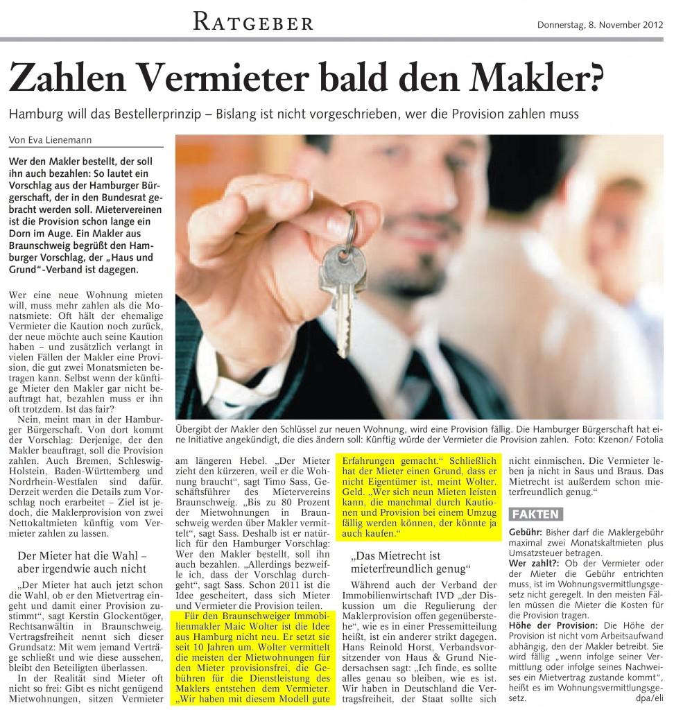 Zeitungsartikel der Braunschweiger Zeitung vom 08. November 2012 zum Thema Makler in Braunschweig