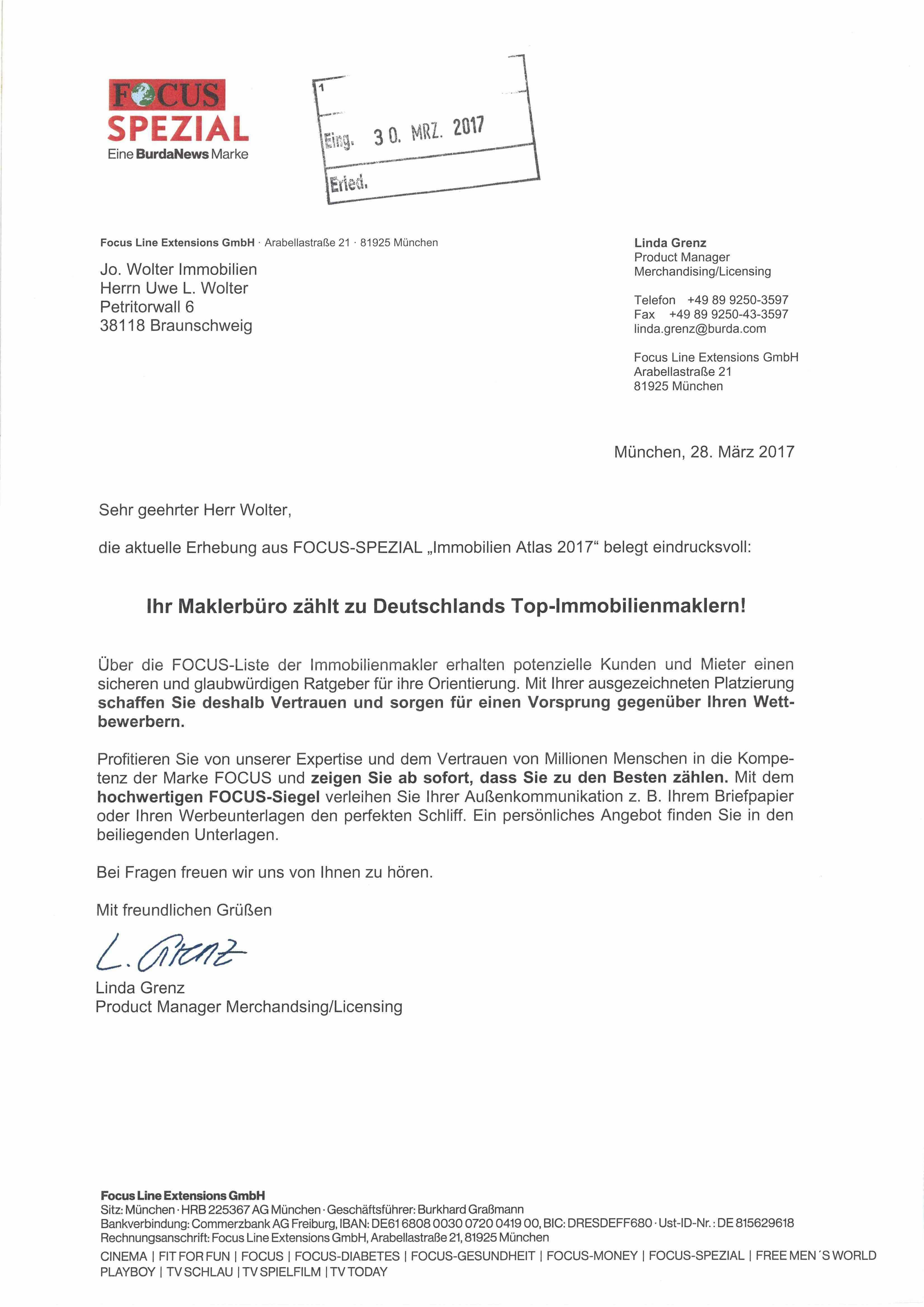Ernennungsschreiben zum TOP-Makler Braunschweig